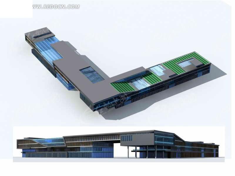 _现代商业大厦建筑群l型裙楼3d模型