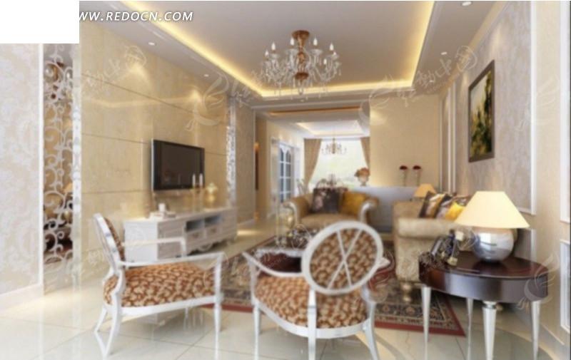 欧式冷调客厅室内效果图3d模型 max图片 高清图片