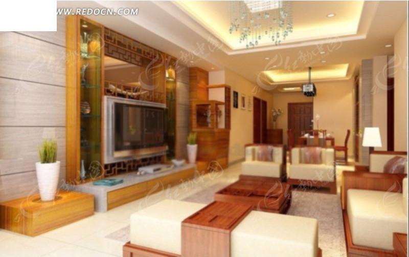 中式客厅室内效果图3d模型 max高清图片