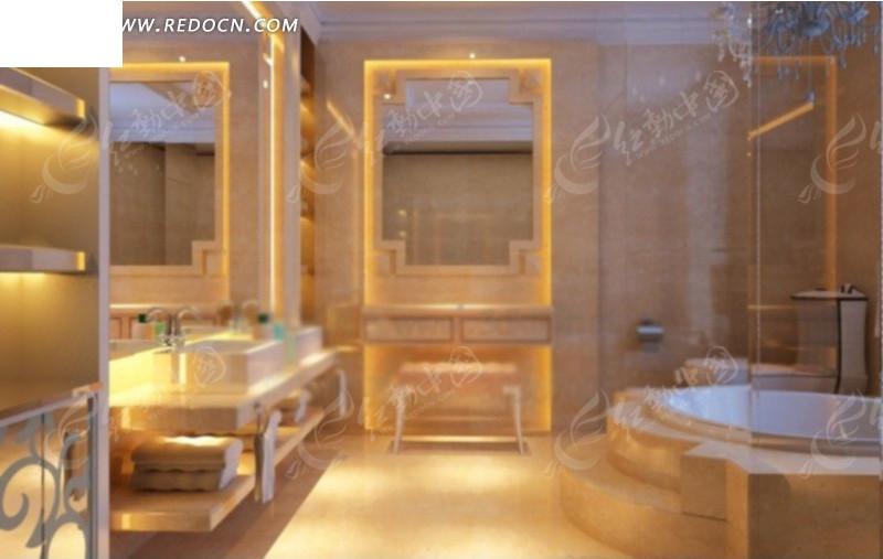 豪华卫生间设计3d效果图图片高清图片