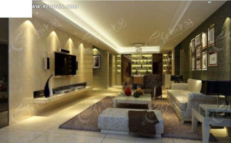 现代简约创意客厅效果图3d模型 max图片 高清图片