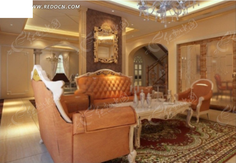 豪华高档欧式客厅设计3d效果图