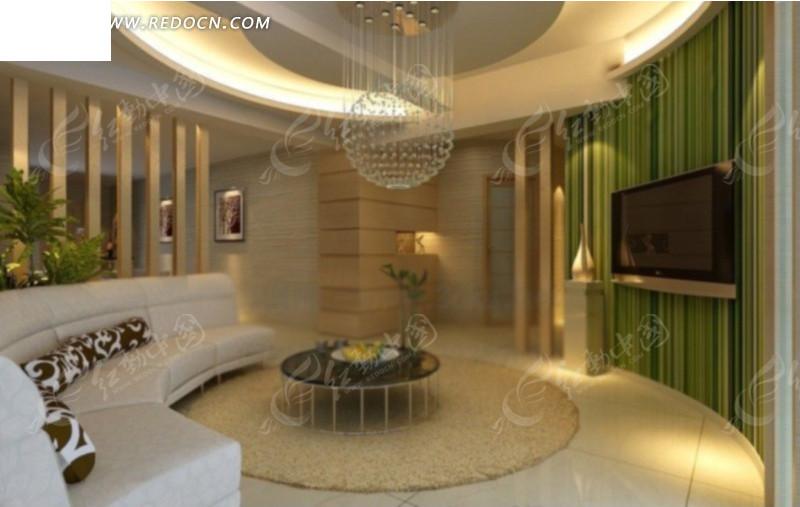圆型客厅设计3d效果图图片高清图片