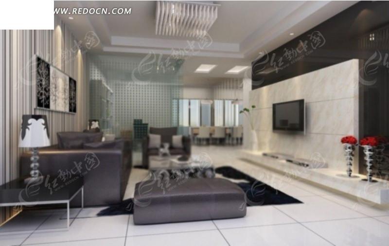黑白情调客厅设计3d效果图