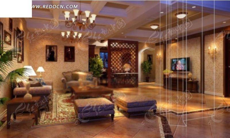 古典欧式客厅效果图设计3d模型 max图片 高清图片