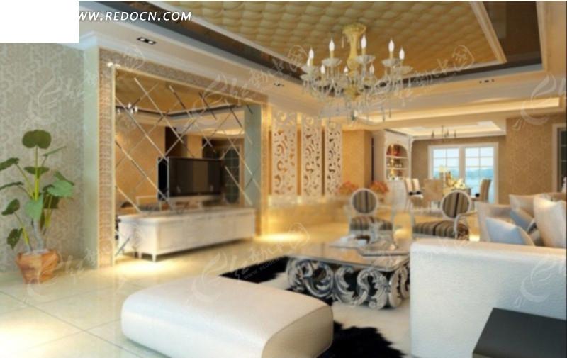 现代欧式客厅3d效果图