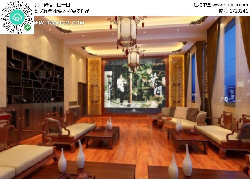 中式风格客厅设计3d效果图图片高清图片