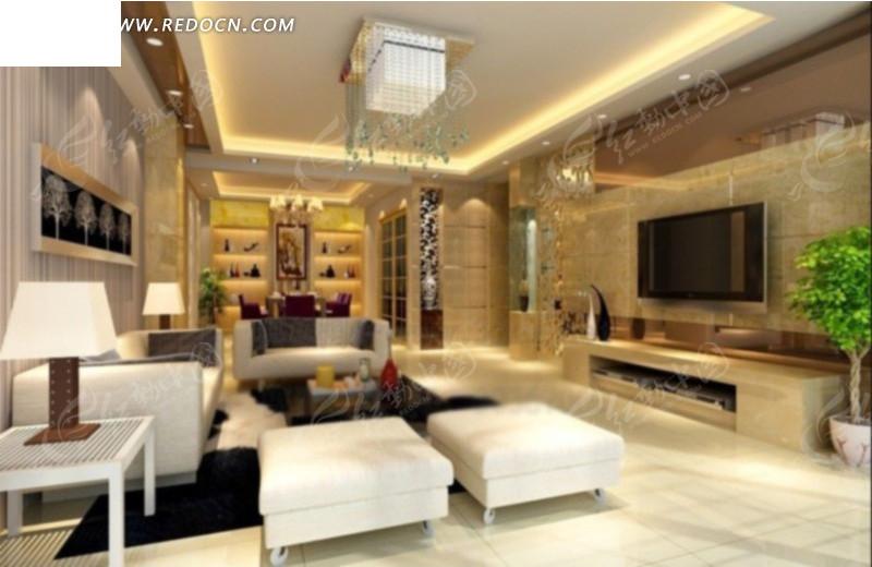 豪华大气客厅装饰效果图 大气豪华欧式大客厅3d效 豪华大气客厅装饰