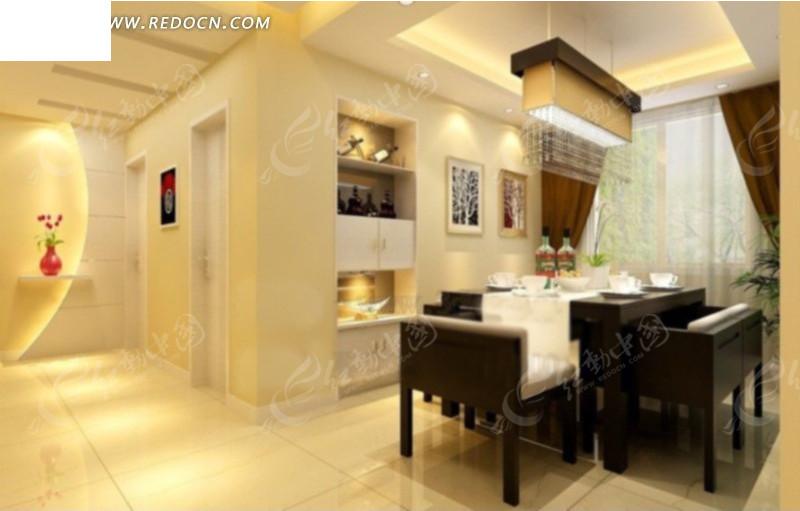 现代豪华欧式餐厅3d模型 豪华现代风格客厅装饰效 现代精装修豪华餐厅