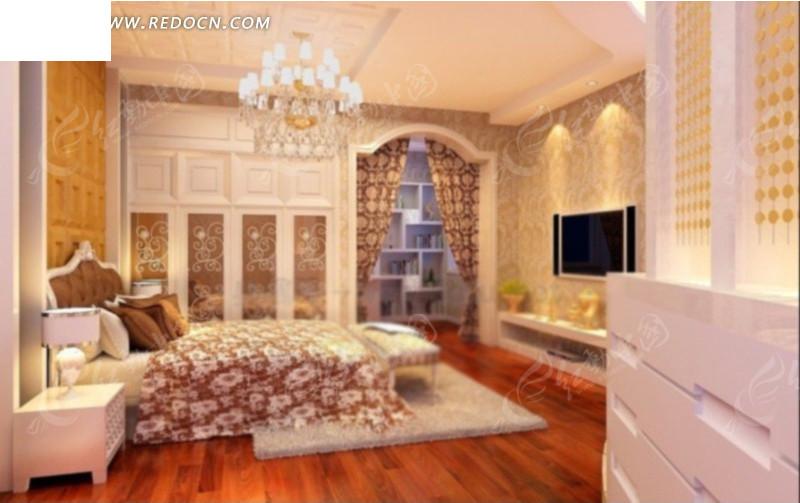 欧式豪华卧室设计3d效果图