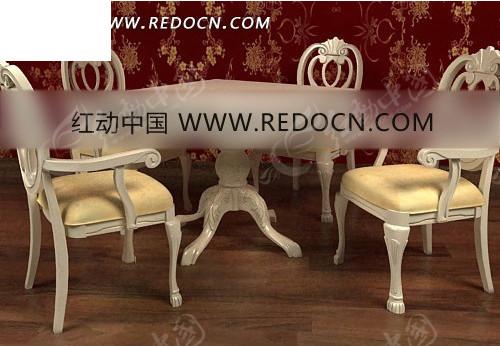 白色的欧式家具3d效果图