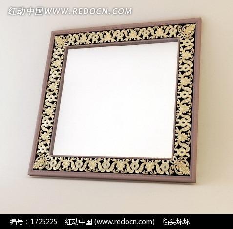 欧式雕花描金方形镜子图片
