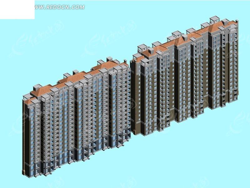 三联排两栋并排塔式高层住宅楼模型