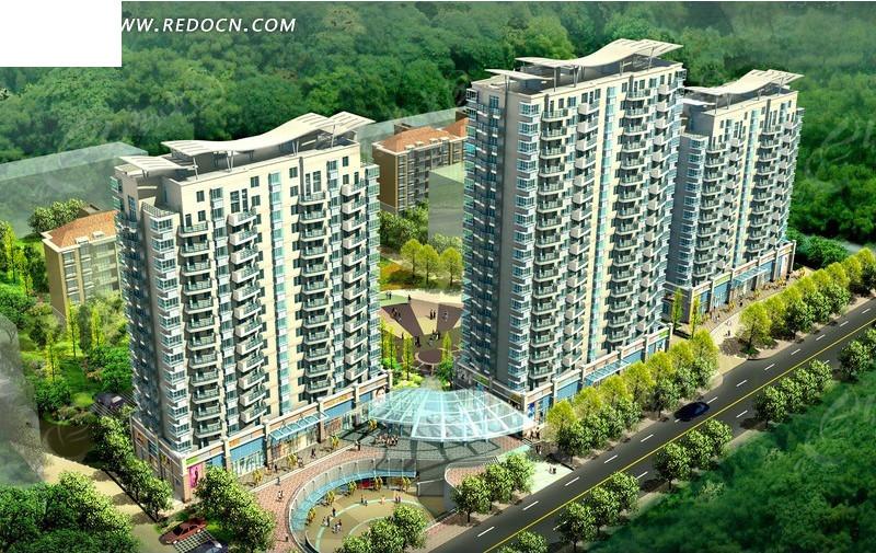 三栋高层塔式商住小区楼沿街景观效果图_建筑模型图片