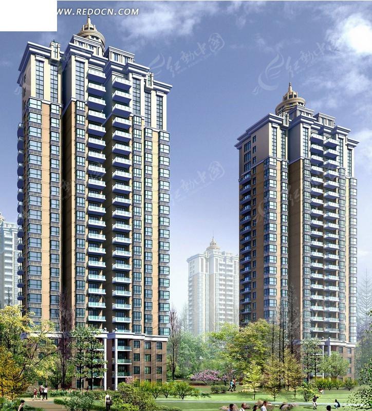 高端欧式顶塔式高层住宅小区楼群效果图 高清图片