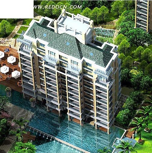高层板式住宅楼俯视效果图3dmax免费下载 建筑模型素材