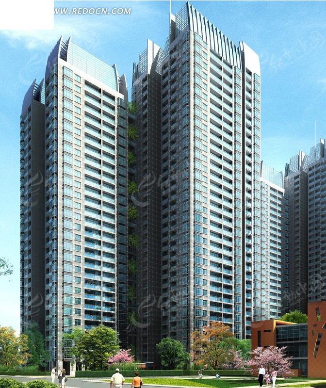 两栋垂直高层塔式住宅楼效果图_建筑模型图片