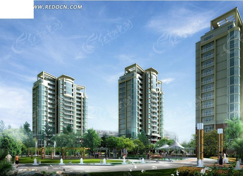 现代板式小高层住宅小区楼群及景观效果图 高清图片