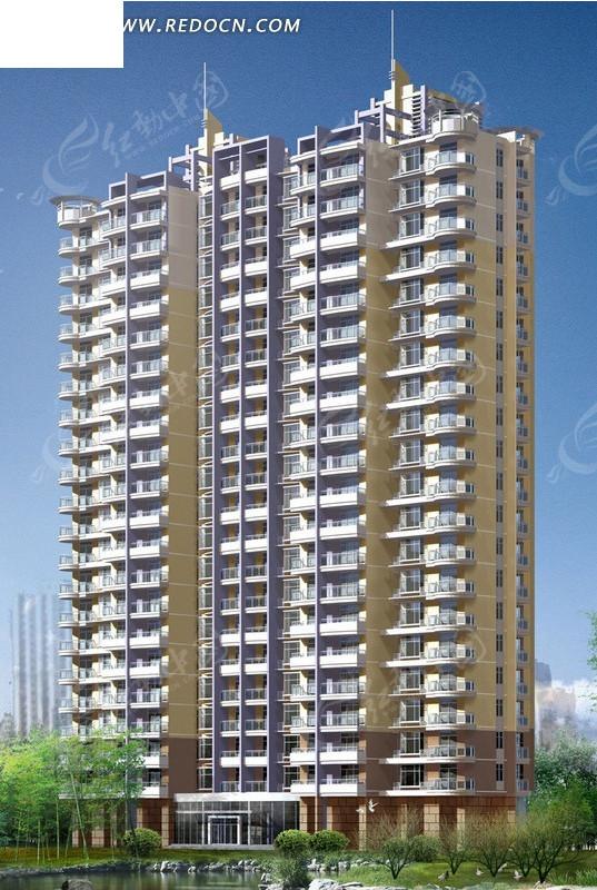 现代高层塔式住宅楼效果图3dmax免费下载_建筑模型素材图片