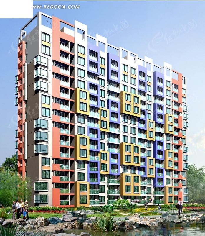 小高层两联排彩色塔式住宅楼效果图_建筑模型图片