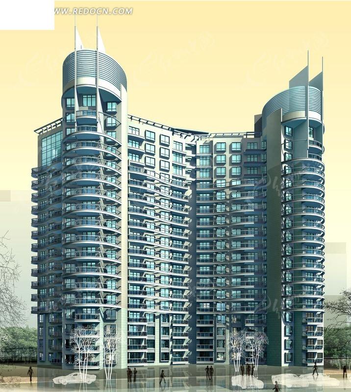 免费素材 3d素材 3d模型 建筑模型 高端高层双联塔式住宅楼效果图图片