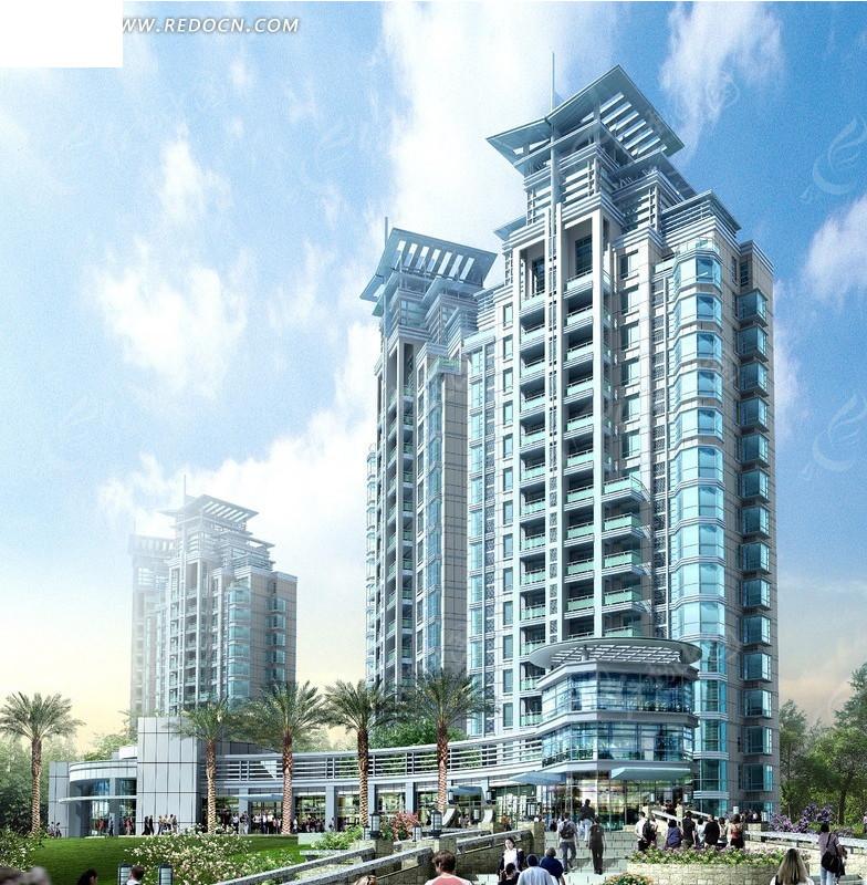 现代造型楼顶高层住宅楼效果图 编号 1726389 高清图片