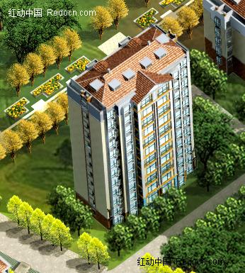 坡顶高层板式住宅楼效果图