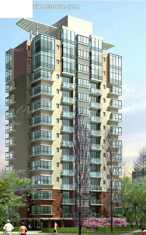 板式钢架顶高层住宅楼效果图图片 高清图片