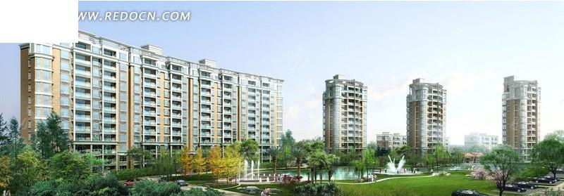 高层住宅小区景观绿化效果图