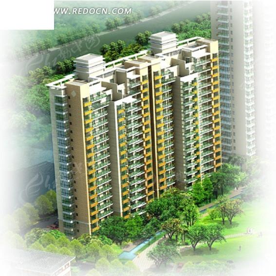 塔式住宅小区楼俯视效果图3dmax免费下载 建筑模型素材