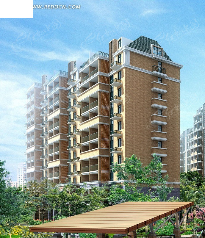 小高层塔式住宅小区楼效果图_建筑模型图片