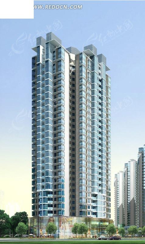高层塔式商住楼裙房商铺效果图3dmax免费下载_建筑图片