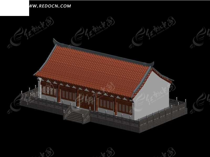 中国古代建筑风格3d模型_建筑模型_红动手机版
