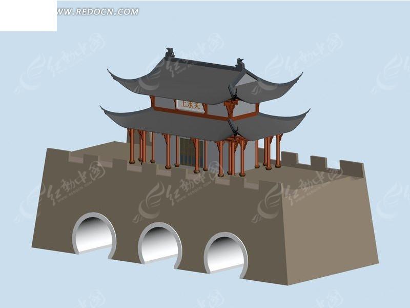中式建筑塔城模型3dmax免费下载_建筑模型素材图片