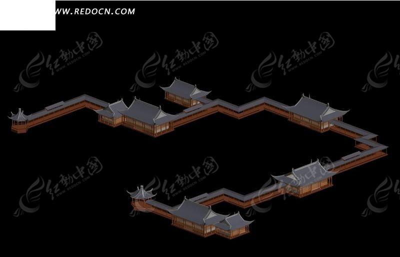 中国风格古代建筑亭子廊架3d模型