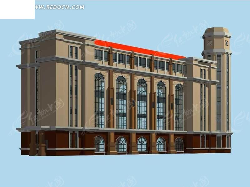 欧式古典公共建筑3d立体模型