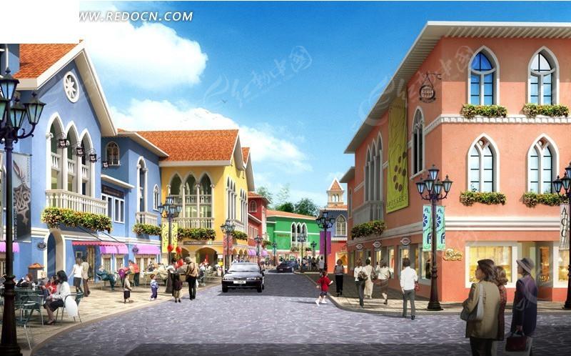 欧式建筑加商业街效果图