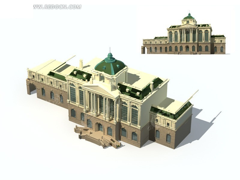 欧式建筑城堡教堂模型3dmax免费下载