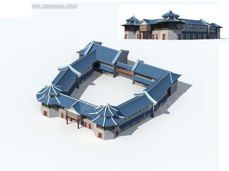 中式建筑古代大杂院3d模型