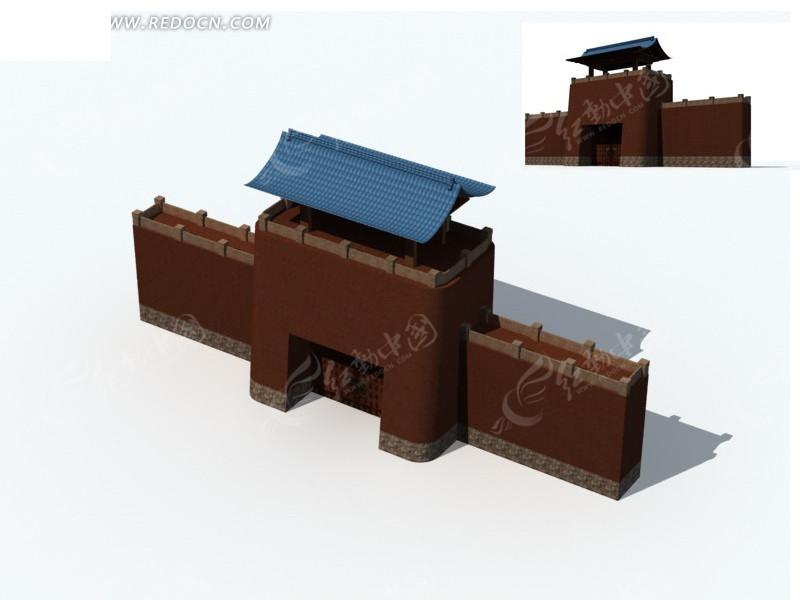 中国古代建筑城门楼3d模型