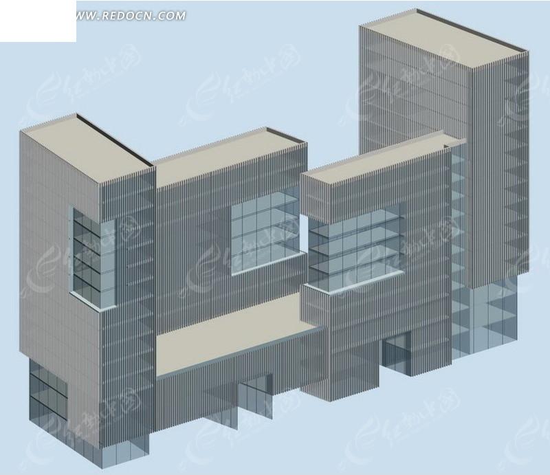 现代风格公共建筑办公楼3d模型素材