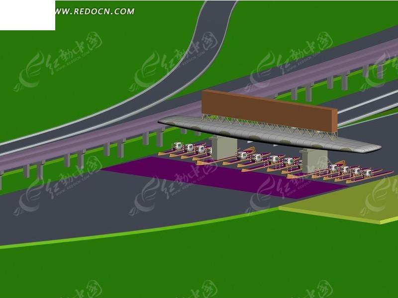 道路收费站设计3d效果图图片高清图片