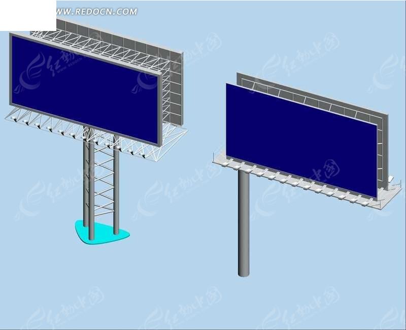 道路广告牌3d模型图片