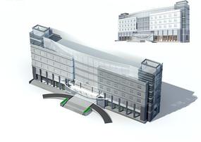 豪华现代风格高档办公写字楼3D模型素材