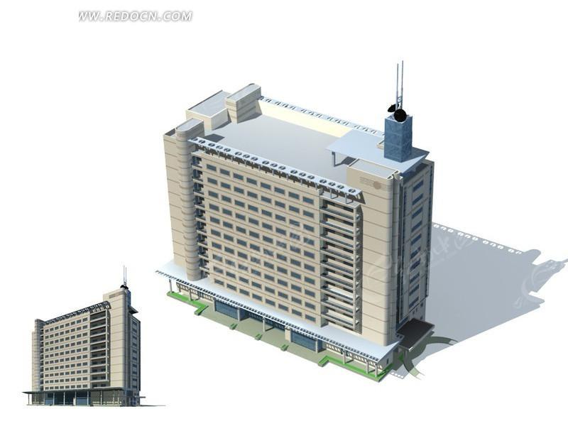 现代简约风格公共建筑办公楼3d模型