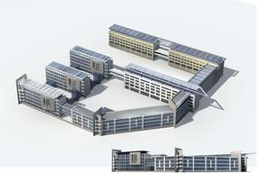 豪华现代风格办公写字楼3D模型素材