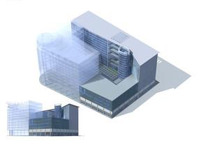现代唯美风格高档办公写字楼3D模型素材