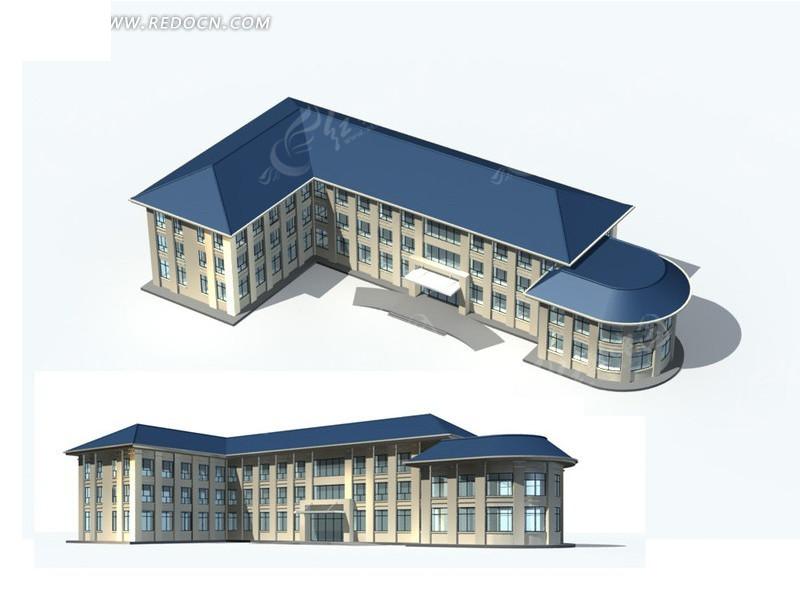 时尚唯美风格尖顶住宅建筑3d立体模型