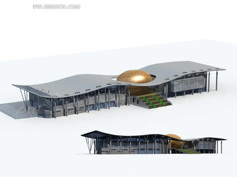 时尚现代风格流线型建筑3d立体模型