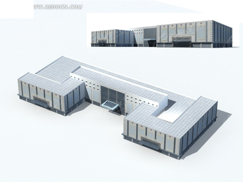 n形多层公共建筑设计商业办公楼3d模型